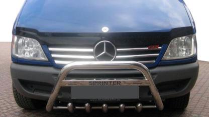 Накладки на решетку широкие (2002-2006, 6 частей, нерж) Mercedes Sprinter 1995-2006 гг. Мерседес Бенц Спринтер