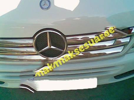 Накладки на решетку широкие (2002-2006, 6 частей, нерж) Mercedes Sprinter 1995-2006 гг. Мерседес Бенц Спринтер, фото 2