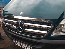 Решетка радиатора (нерж. сталь, Omsa) Mercedes Sprinter 906 Мерседес Бенц Спринтер, фото 3