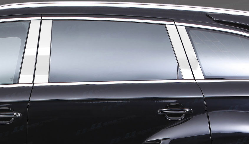 Молдинги дверных стоек (нерж.) Audi Q7 2005-2015 гг. Ауди Q7