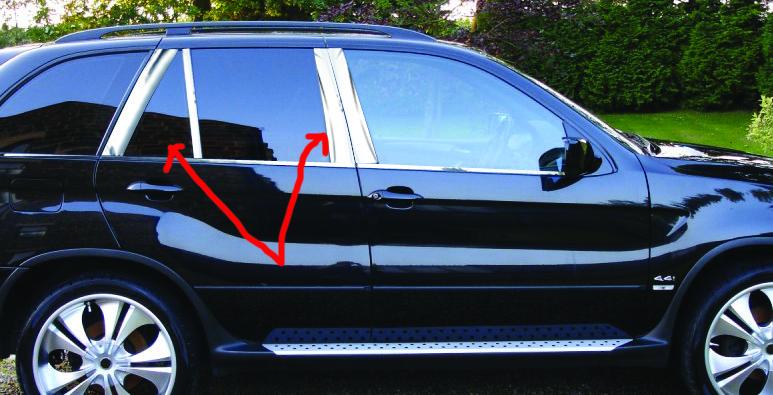 Молдинги стоек дверных (8 шт, нерж.) BMW X5 E-53 1999-2006 гг. БМВ X5 E-53