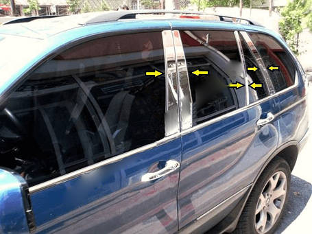 Молдинги стоек дверных (8 шт, нерж.) BMW X5 E-53 1999-2006 гг. БМВ X5 E-53, фото 2