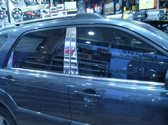 Накладки на стойки (6 шт, нерж) Kia Sportage 2004-2010 гг. КИА Спортейдж, фото 2