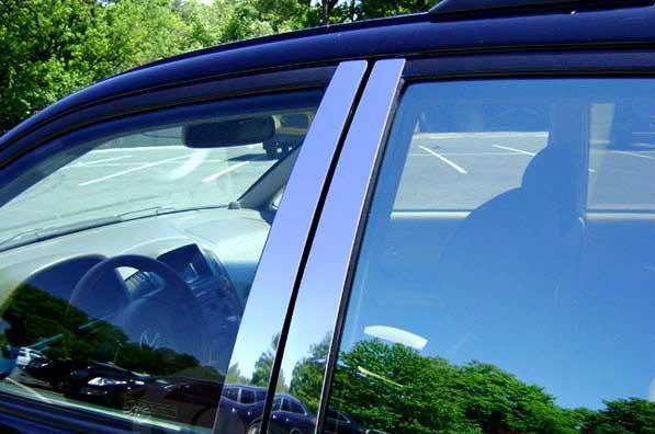 Молдинг дверных стоек (6 шт, нерж.) Nissan Pathfinder R51 2005-2014 гг. Ниссан Патфайндер
