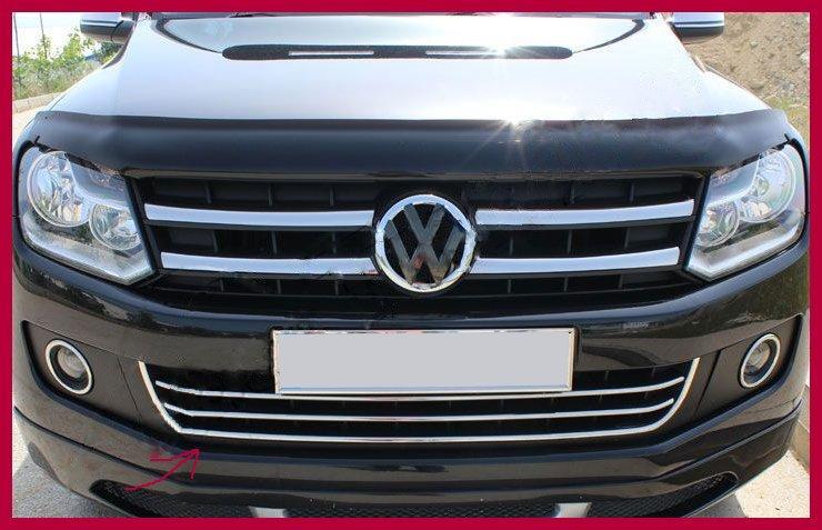 Накладки на передний бампер с улыбкой (3 шт, нерж) Volkswagen Amarok Фольксваген Амарок