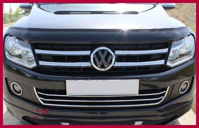 Накладки на передний бампер с улыбкой (3 шт, нерж) Volkswagen Amarok Фольксваген Амарок, фото 2