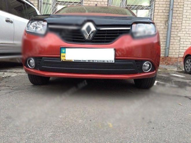 Renault Sandero Зимняя глянцевая накладка на нижнюю решетку Рено Сандеро