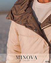 Длинная двусторонняя куртка женская на кнопках, цвет бежевый-капучино, больших размеров от 50 до 60, фото 3