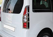 Peugeot Partner Tepee 2012↗ Накладки на стопы угловые АБС-хром Пежо Партнер Типи, фото 3