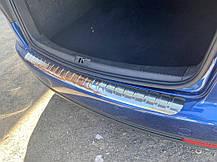 Накладка на задний бампер Carmos (нерж) Volkswagen Touran 2003-2010 гг. Фольксваген Туран, фото 3