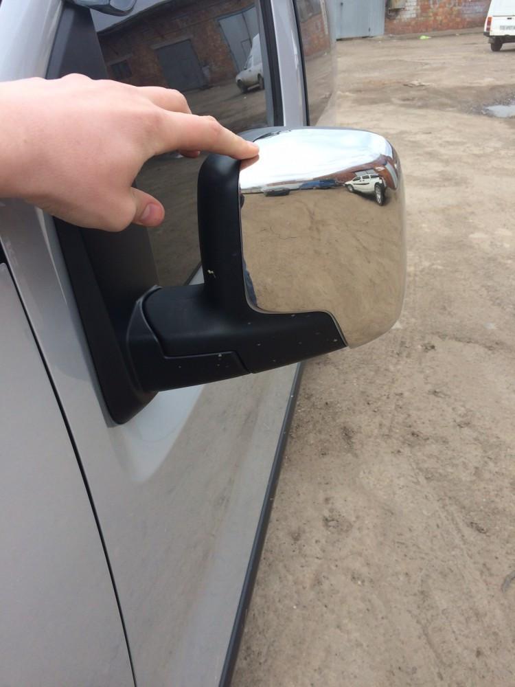 Накладки на зеркала верхушки (2 шт, нерж.) Peugeot Bipper 2008↗ гг. Пежо Биппер