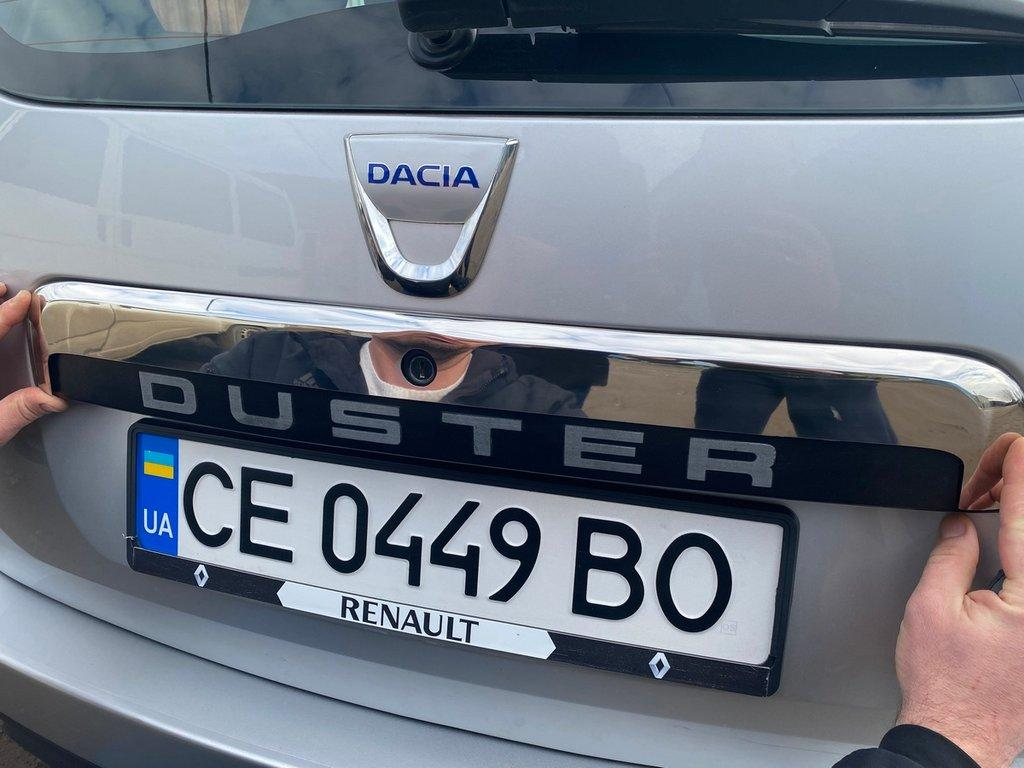 Планка над номером верхняя (нерж.) Renault Duster 2008-2017 гг. Рено Дастер