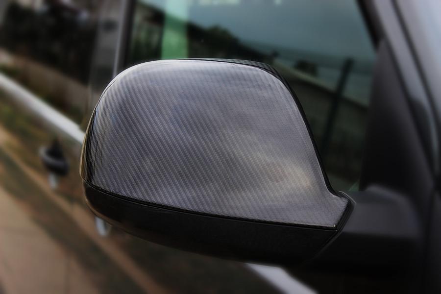 Накладки на зеркала (2 шт, натуральный карбон) Audi Q7 2005-2015 гг. Ауди Q7