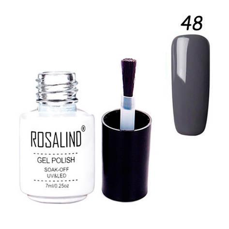Гель-лак для ногтей маникюра 7мл Rosalind шеллак 48 темно-серый, фото 2