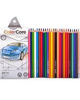 3100-24CB Карандаши 24 цветов шестиграные d=4.0+1 графитн. НВ, ColorCore Marco