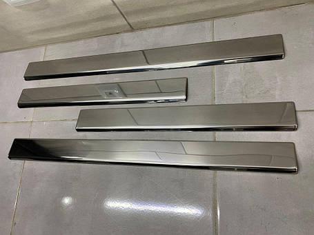 Накладки на пороги (Carmos, 4 шт, нерж) Mercedes E-klass W210 Мерседес Бенц E-klass W210, фото 2