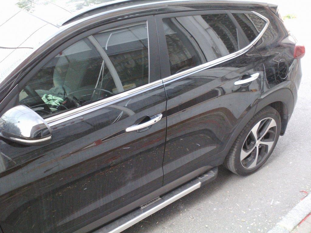 Нижняя окантовка стекол (6 шт, нерж) Hyundai Tucson TL 2016↗ гг. Хюндай Туксон