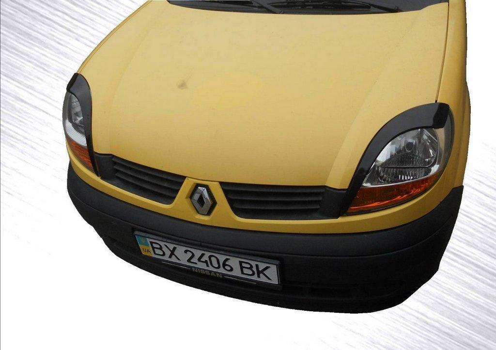 Renault Kangoo 1998-2008 Реснички (2 шт, Черный глянец) Рено Кенго