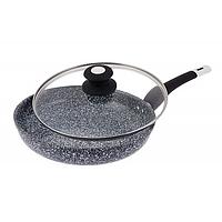 Сковорода с мраморным покрытием Edenberg EB-9167 26 см 2.6 л стеклянная крышка Черная, фото 1