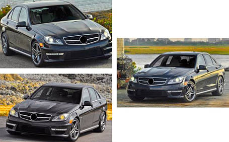 Передняя решетка Diamond Mercedes C-Klass W204 Мерседес Бенц Ц-класс W204, фото 2