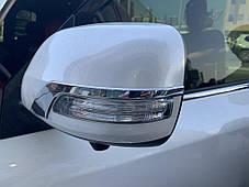 Полоски на зеркала 2012↗ (2 шт, хром) Toyota LC 200 Тойота Ленд Крузер 200, фото 2
