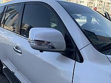 Полоски на зеркала 2012↗ (2 шт, хром) Toyota LC 200 Тойота Ленд Крузер 200, фото 3