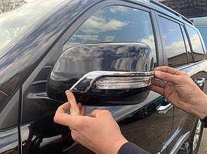 Полоски на зеркала (2 шт, хром) Toyota LC 150 Prado Тойота Ленд Крузер Прадо LC 150, фото 2
