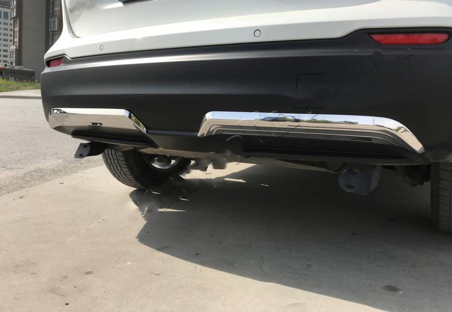 Накладки на вторец заднего бампера (2017↗︎, нерж) Nissan Qashqai 2014↗ гг. Ниссан Кашкай