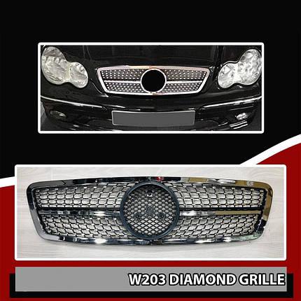 Передняя решетка Diamond Mercedes C-Klass W203 Мерседес Бенц Ц-класс W203, фото 2