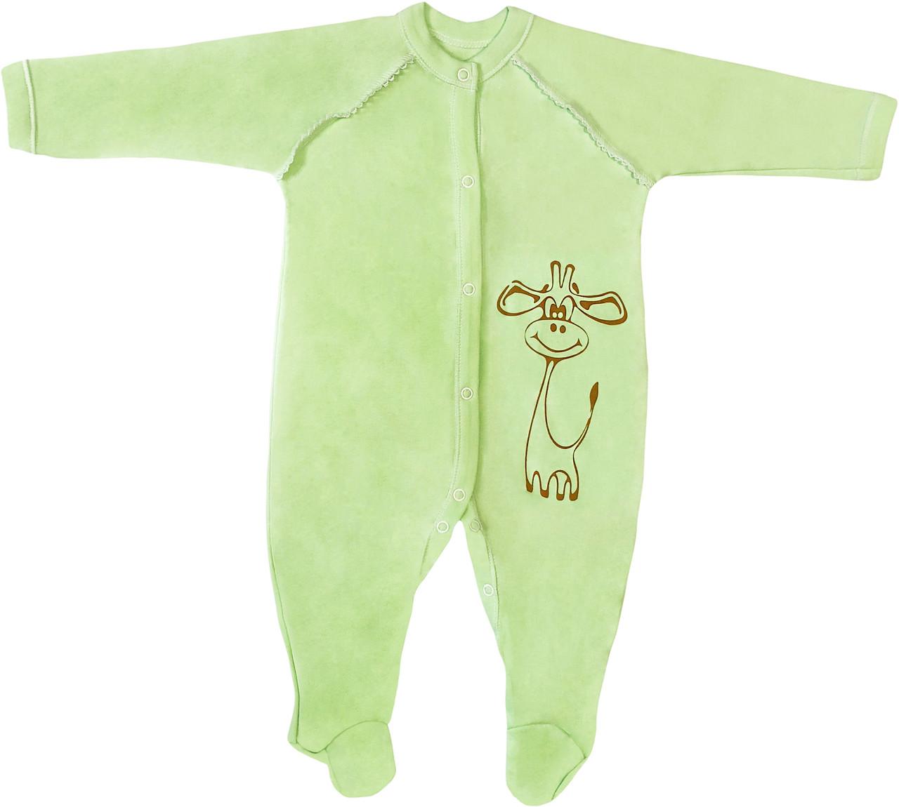Тёплый человечек с начёсом для новорожденных рост 80 9-12 мес на мальчика девочку слип трикотажный салатовый