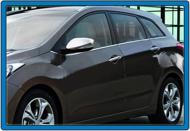 Hyundai Accent Solaris Накладки на зеркала под повторитель поворота Carmos Хюндай Акцент, фото 2