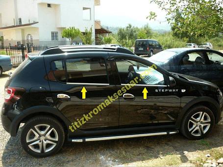 Dacia Sandero 2013+ Хром полоски на уплотнитель Carmos Дачиа Сандеро, фото 2