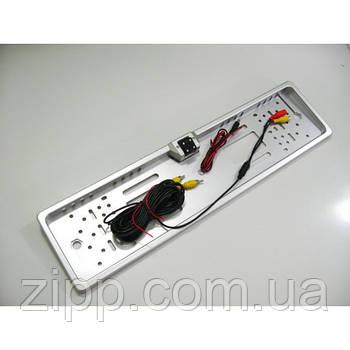 Авто рамка для номерного знака со встроенной камерой и LED подсветкой номера, 16 светодиодов, серебро/silver