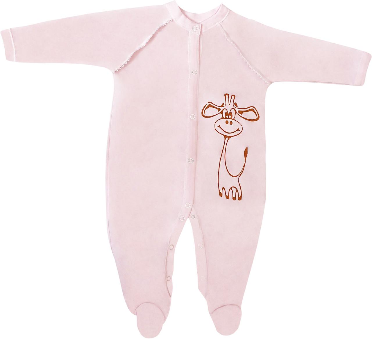 Тёплый человечек с начёсом на девочку рост 86 1-1,5 года для новорожденных слип трикотажный интерлок розовый