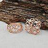 Набор Xuping 65105 кольцо размер 21 + серьги 20х10 мм белые фианиты позолота РО, фото 2