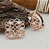 Набор Xuping 65105 кольцо размер 21 + серьги 20х10 мм белые фианиты позолота РО, фото 3
