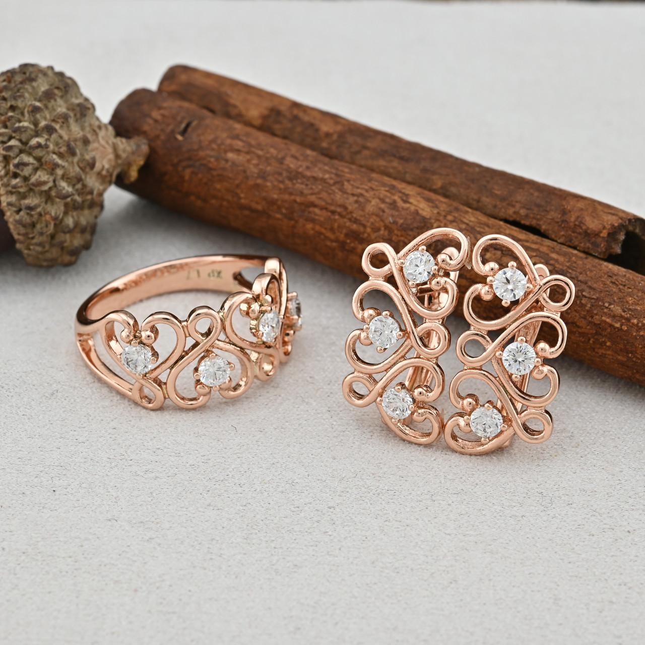 Набор Xuping 65105 кольцо размер 21 + серьги 20х10 мм белые фианиты позолота РО
