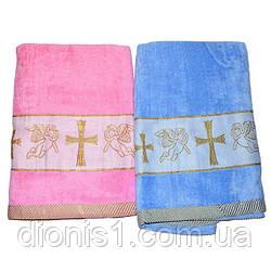 Крыжма голубая/розовая полотенце для крещения 140х70