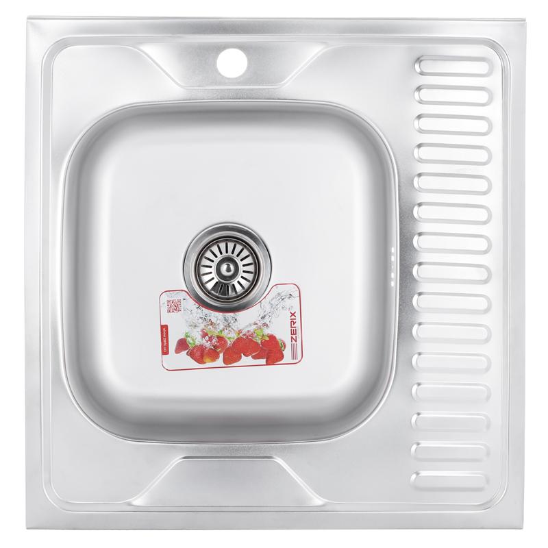 Мойка кухонная ZERIX Z6060L-04-160E (satin) (20шт/ящ) (ZM0567)