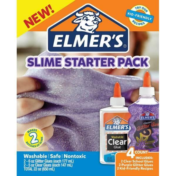 Elmer's Набор клея для создания фиолетовых слаймов слайм 2022922 Slime Starter Kit Purple Glitter Clear