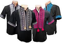 Мужская черная вышиванка с коротким рукавом с богатой вышивкой на груди, фото 1
