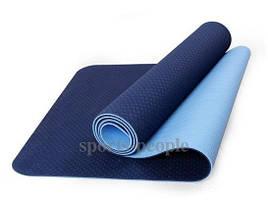 Коврик для йоги и фитнеса, ТРЕ, двухслойный, 183*61*0.8 см, разн. цвета + чехол в подарок!