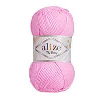 Детская акриловая пряжа Ализе май бейби MY BABY розового цвета 191