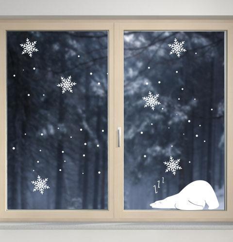 Наклейка Белый мишка (новогодняя наклейка на стекло, окно, стену)