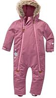 Зимний термокомбинезон Topolino Тополино для девочки 86, 92, 98 см сдельный розовый с меховой опушкой, фото 1