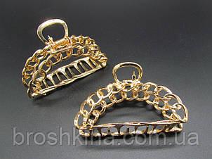 Краб для волосся метал 8 см золотистий