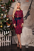 Платье женское модель №220-3, размеры 52 красное