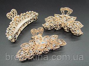 Краби для волосся 9 см метал золотистий 3 шт/уп.