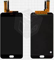 Дисплейный модуль (дисплей + сенсор) для Meizu M2 Note, желтый шлей, черный, оригинал