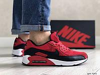Кросівки чоловічі в стилі Nike Air Max 90 чорно червоні